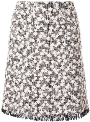 Giambattista Valli Floral Applique Tweed Midi Skirt
