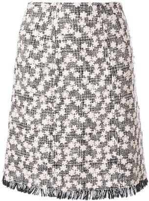 Giambattista Valli floral applique tweed midi skirt