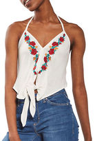 Topshop Embroidered Halter Top