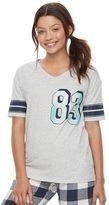 Juniors' SO® Pajamas: Naptime Squad Football Graphic Tee