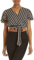 Necessary Objects Stripe Tie-Waist Crop Top