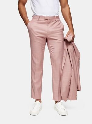 Topman Pink Slim Fit Suit Trousers