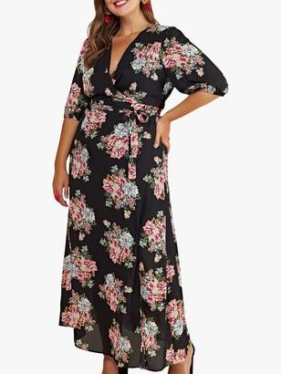 Yumi Curves Rose Print Maxi Dress, Black