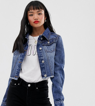Brave Soul Petite cropped denim jacket in mid wash-Blue