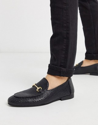 Walk London jacob woven loafers in black leather