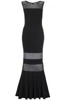 Quiz Black Mesh Insert Fishtail Maxi Dress