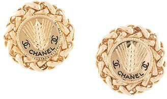 Chanel Pre Owned Chain Wheat Clip On Earrings