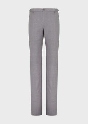 Giorgio Armani Regular-Fit Melange Wool Trousers