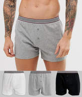 Asos Design ASOS DESIGN 3 pack jersey boxers in monochrome with stripe waistband save