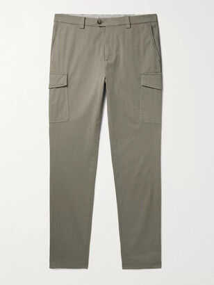 Brunello Cucinelli Herringbone Cotton-Blend Cargo Trousers - Men - Green