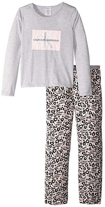 Calvin Klein Kids Two-Piece Set Long Sleeve Top w/ Cozy Pants (Little Kids/Big Kids) (Heather Gray Pink Leo) Girl's Pajama Sets