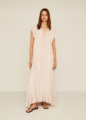 MANGO Ruffles flowy dress nude - 4 - Women