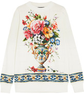 Dolce & Gabbana Printed Cotton-jersey Sweatshirt - White