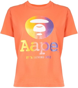 AAPE BY *A BATHING APE® short sleeve gradient logo T-shirt