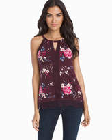 White House Black Market Sleeveless Embroidered Floral Top