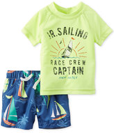 Carter's 2-Pc. Rashguard & Sailing-Print Swim Trunks Set, Baby Boys (0-24 months)