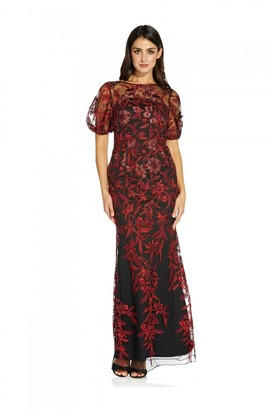 Adrianna Papell Metallic Embroidered Gown