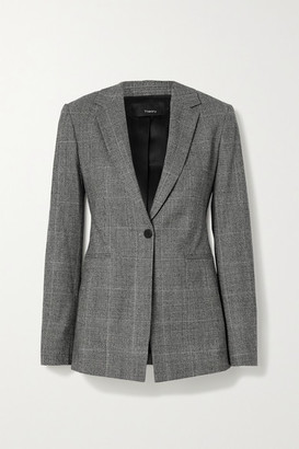 Theory Prince Of Wales Checked Wool-blend Blazer - Gray