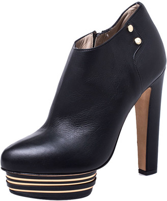 Le Silla Enio Silla For Black Leather Platform Booties Size 37.5