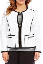 Calvin Klein Plus Lux Contrast Trim Piped Zipper Jacket