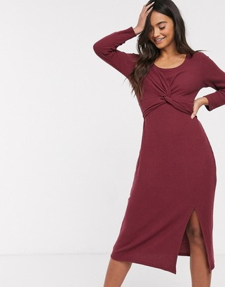 Hollister cosy wrap midi dress-Red