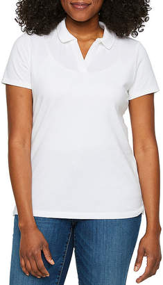 ST. JOHN'S BAY Petite Womens Short Sleeve Knit Polo Shirt