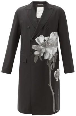 Valentino Flowersity-print Double-breasted Wool-blend Coat - Black White