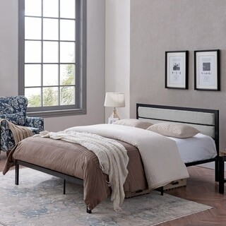 Christopher Knight Home Monarda Contemporary Iron Queen Bed Frame with Upholstered Accents