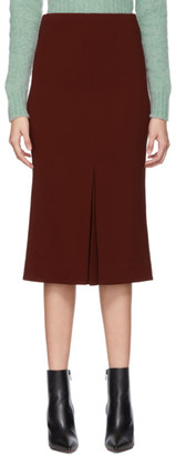 Victoria Beckham Red Fitted Box Pleat Midi Skirt