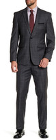 Vince Camuto Grey Notch Lapel Two Button Windowpane Print Slim Fit Wool Suit