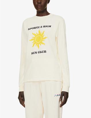 Sporty & Rich Sun Club logo-print cotton-jersey top