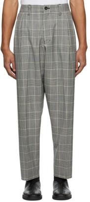 Blue Blue Japan Black and White Kasuri Wool Glen Check Trousers