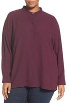 Eileen Fisher Silk Georgette Crepe Blouse (Plus Size)