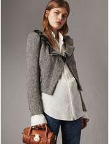 Burberry Ruffle Collar Donegal Herringbone Wool Jacket