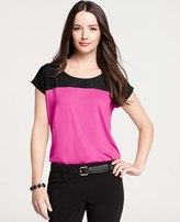 Ann Taylor Colorblocked Woven Yoke Top