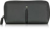 Giorgio Fedon Web Black Leather and Nylon Zip Around Women's Wallet