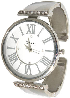 Women Rhinestone Roman Numeral Cuff Bracelet Watch 38mm