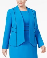 Kasper Plus Size Contrast-Trim Blazer