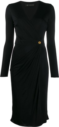 Versace Draped Detail V-Neck Dress