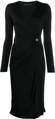 Versace draped detail v-neck dress