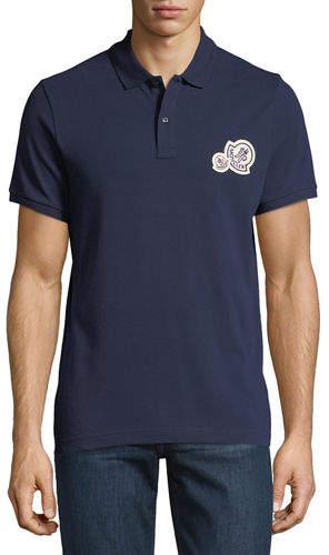 Moncler Logo-Patch Pique-Knit Polo Shirt