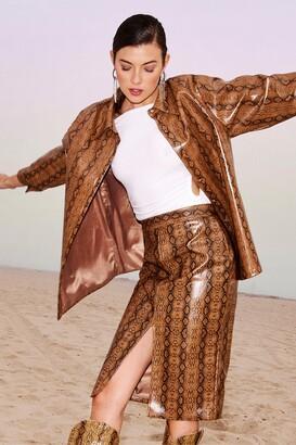 Nasty Gal Womens Faux Leather Snake Print Slit Midi Skirt - Brown - 4