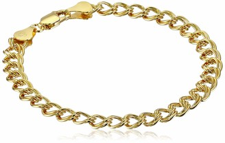 Amazon Essentials Yellow Gold Plated Sterling Silver Double-Link Chain Bracelet 7