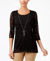 JM Collection Attached-Necklace Mesh Top, Created for Macy's