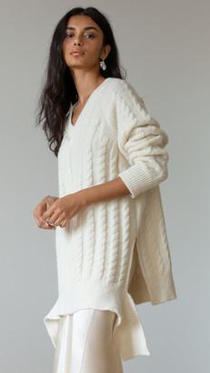 Simone Rocha V Neck Skinny Cable Sweater