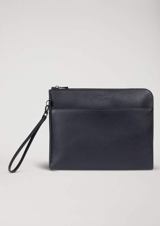 Emporio Armani Grained Leather Document Briefcase