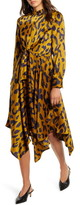 Moon River Leopard Print Long Sleeve Handkerchief Hem Satin Dress