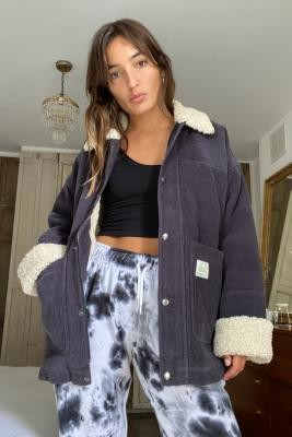 Urban Outfitters Borg Lined Corduroy Donkey Jacket - Grey M/L at