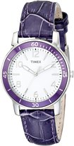 Timex Women's Kaleidoscope T2P052 Purple Leather Analog Quartz Watch with Dial