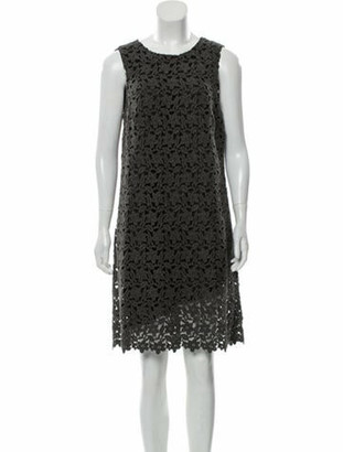 Dolce & Gabbana Floral Lace Knee-Length Dress Grey